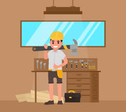 Carpenter, foreman, joiner, woodworker with large hammer and tools vector illustration