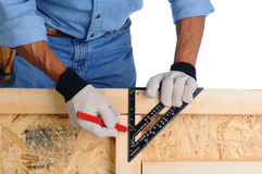 Carpenter with Framing Square Stock Photos