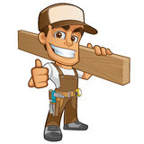 Carpenter. Friendly carpenter, he is dressed in work clothes and carrying a wooden stock illustration