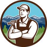 Carpenter Hammer Arms Crossed Circle Retro Royalty Free Stock Photography