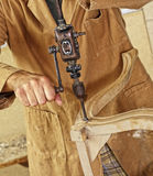 Carpenter with hand drill Stock Image