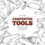 Carpenter hand tools and professional instruments set frame vector illustration