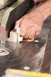 Carpenter hands at work Royalty Free Stock Images