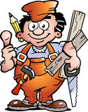 Carpenter Handyman. Hand-drawn Vector illustration of an Handyman