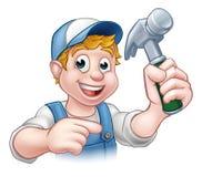 Carpenter Handyman Holding Hammer Royalty Free Stock Photos