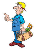 Carpenter or Handyman illustration. Cartoon illustration of a perfect handyman or carpenter carrying toolbox, and pointing stock illustration