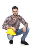 Carpenter with hardhat Royalty Free Stock Photography