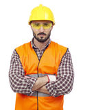 Carpenter with hardhat and protective glasses Stock Images
