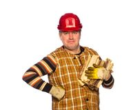 Carpenter in helmet Royalty Free Stock Images