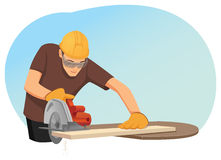 Carpenter. In helmet and protective eye-wear is cutting a wooden plank by the circular saw vector illustration