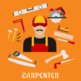 Carpenter and his toolbox tools Royalty Free Stock Image