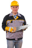 Carpenter holding handsaw isolated Royalty Free Stock Photo