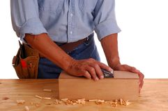 Carpenter holding ruler and pe Stock Photo