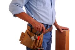 Carpenter holding wood Stock Photography