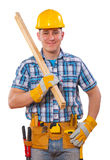 Carpenter holding wooden planks and looking at camera isolated o Royalty Free Stock Image