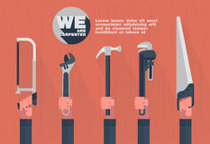 We are carpenter,Home tools with hand flat element Royalty Free Stock Photography