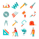 Carpenter Icon Flat Set stock illustration