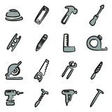 Carpenter Icons Freehand 2 Color Royalty Free Stock Image