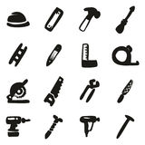 Carpenter Icons Freehand Fill Royalty Free Stock Photography
