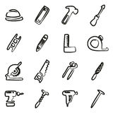 Carpenter Icons Freehand Royalty Free Stock Photos