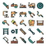 Carpenter icons pack. Isolated carpenter and woodworking symbols collection. Graphic icons element royalty free illustration