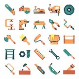 Carpenter icons pack. Isolated carpenter and woodworking symbols collection. Graphic icons element vector illustration