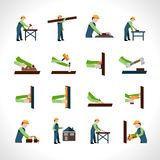 Carpenter Icons Set Stock Photography