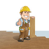 Carpenter. Installing wood flooring royalty free illustration