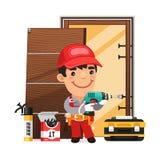 Carpenter Installs the Door Royalty Free Stock Image