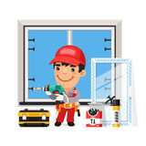 Carpenter Installs the New Window. Isolated on white background Stock Images