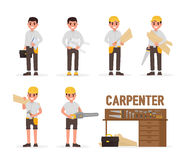 Carpenter, joiner, foreman, engineer and woodworker elements collection with various people actions. Vector illustration Royalty Free Stock Photo