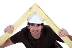 Carpenter making a frame Stock Photo