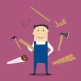 Carpenter man and professional tools Royalty Free Stock Photos