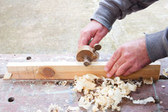 Carpenter marking out wood Royalty Free Stock Photos