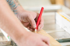 Carpenter measures the length of a wood plank before sawing Stock Images