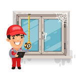 Carpenter Measures the Old Window Royalty Free Stock Image