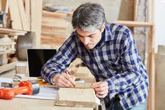 Free Carpenter Measuring With Accuracy Stock Photography - 107653062
