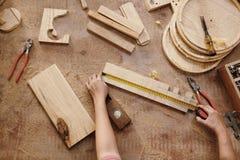 Free Carpenter Measuring Wooden Details Stock Photos - 216513933