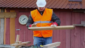 Carpenter at outdoors Stock Image