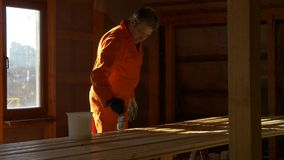 The carpenter painter processes the wood material for building. Impregnation and imbibition of arranged wooden bars with a brush. Construction and painting stock video footage