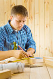 Carpenter with pencil Stock Photography