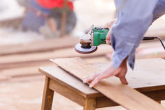 Carpenter plane wood for house construction Stock Photo