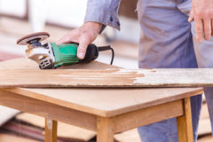 Carpenter plane wood for house construction Royalty Free Stock Photo