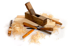 Carpenter planer and tools isolated Royalty Free Stock Photo
