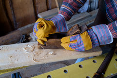 Carpenter planing board Stock Photography