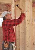 Carpenter pounding nail into interior wall Stock Images