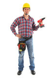 Carpenter with red drill. On the white background. Isolated on white stock photo