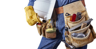 Carpenter repair man with tool belt isolated on white Stock Images