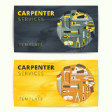 Carpenter or repairman service vector business card design. Wood Royalty Free Stock Photo