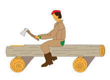 Carpenter rough carve a groove in a log. Carpenter at work. Implementation of the rough tracks in the round log Stock Photography